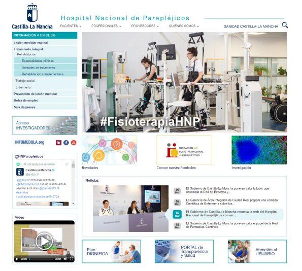 Captura de pantalla de la nueva web del HNP