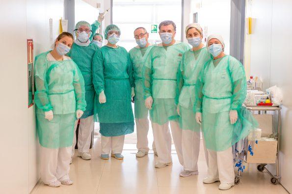 Grupo de trabajadores de la planta A2 del HNP