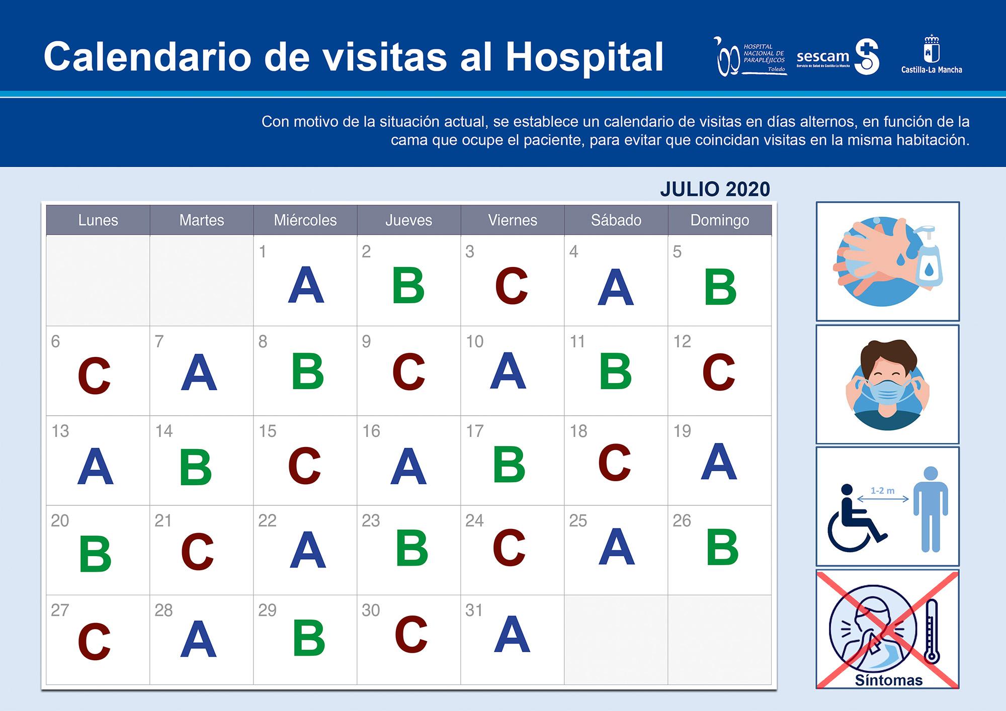 Calendario visitas julio